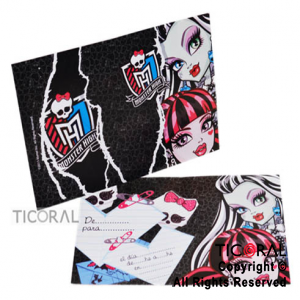 MONSTER HIGH INVITACION x 10